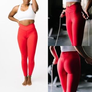 Zyia Red Leopard Scrunchy What High Rise Leggings
